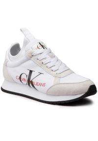 Białe półbuty Calvin Klein Jeans z cholewką, na płaskiej podeszwie