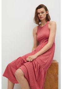 mango - Mango - Sukienka CASIMIRA. Kolor: czerwony. Materiał: materiał. Typ sukienki: rozkloszowane