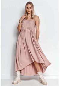 Makadamia - Długa Asymetryczna Sukienka na Ramiączkach - Różowa. Kolor: różowy. Materiał: elastan, bawełna. Długość rękawa: na ramiączkach. Typ sukienki: asymetryczne. Długość: maxi