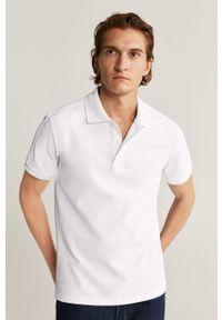Biała koszulka polo Mango Man casualowa, na co dzień, polo, krótka