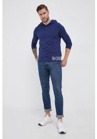 BOSS - Boss - Longsleeve. Typ kołnierza: kaptur. Kolor: niebieski. Materiał: bawełna. Długość rękawa: długi rękaw. Wzór: nadruk