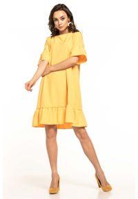 Żółta sukienka wizytowa Tessita z falbankami, na lato