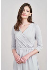 Marie Zélie - Sukienka Rita jasnoszara mikromodal. Kolor: szary #5