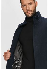 Niebieski płaszcz Selected bez kaptura, na co dzień, casualowy