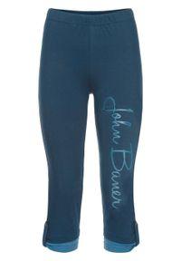 Niebieskie spodnie bonprix z napisami
