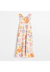 Reserved - Sukienka midi - Kremowy. Kolor: kremowy. Długość: midi