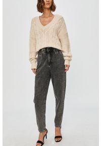 Szare jeansy Answear Lab z podwyższonym stanem, wakacyjne