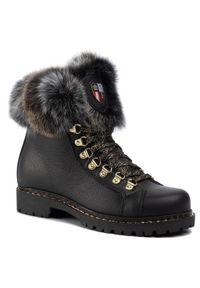 Czarne buty trekkingowe New Italia Shoes z cholewką
