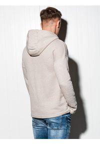 Beżowa bluza Ombre Clothing z kapturem, z aplikacjami