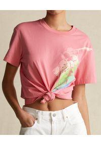 Ralph Lauren - RALPH LAUREN - Różowy t-shirt z graficznym nadrukiem. Typ kołnierza: polo. Kolor: wielokolorowy, fioletowy, różowy. Materiał: tkanina. Wzór: nadruk #4