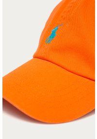 Pomarańczowa czapka z daszkiem Polo Ralph Lauren z aplikacjami
