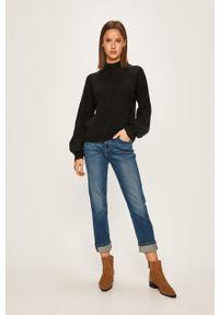 Czarny sweter Pepe Jeans raglanowy rękaw, na co dzień, casualowy