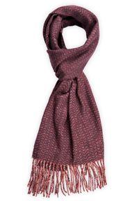 Brązowy szalik Lancerto elegancki, na zimę, w kolorowe wzory