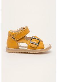 Żółte sandały Mrugała na rzepy