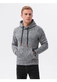 Ombre Clothing - Bluza męska z kapturem B1094 - grafitowa - XXL. Typ kołnierza: kaptur. Kolor: szary. Materiał: materiał, poliester. Wzór: ze splotem. Styl: elegancki