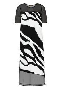 Czarna sukienka bonprix z motywem zwierzęcym, midi