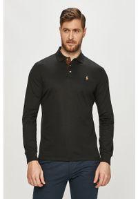 Czarna koszulka z długim rękawem Polo Ralph Lauren na co dzień, gładkie, casualowa