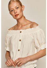 Kremowa bluzka medicine krótka, z dekoltem typu hiszpanka, casualowa