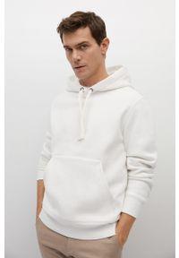 Biała bluza nierozpinana Mango Man z kapturem