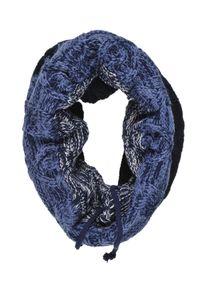 Niebieski szalik TOP SECRET w kolorowe wzory, na zimę