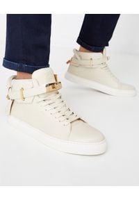 BUSCEMI - Skórzane sneakersy 100MM. Okazja: na co dzień. Kolor: beżowy. Materiał: skóra. Szerokość cholewki: normalna. Wzór: aplikacja