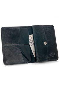 Solier - Skórzany cienki portfel męski z bilonówką SOLIER SW15 SLIM czarny. Kolor: czarny. Materiał: skóra