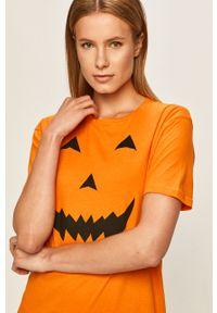 Pomarańczowa bluzka Brave Soul na co dzień, z nadrukiem