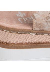 Różowe sandały Rieker na co dzień, z aplikacjami, casualowe