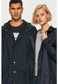 Rains - Kurtka przeciwdeszczowa 1202 Long Jacket. Kolor: niebieski. Materiał: tkanina. Wzór: gładki