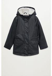 Czarny płaszcz Mango Kids z kapturem, casualowy, na co dzień