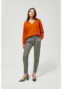 MOODO - Spodnie w kratkę. Materiał: poliester, wiskoza, guma, elastan. Długość: długie. Wzór: kratka