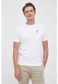 Aeronautica Militare - T-shirt. Okazja: na co dzień. Kolor: biały. Materiał: dzianina. Wzór: gładki, aplikacja. Styl: casual