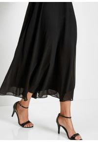 Sukienka szyfonowa z cekinami bonprix czarno-kremowy. Okazja: na ślub cywilny, na wesele. Typ kołnierza: dekolt gorset. Kolor: czarny. Materiał: szyfon. Typ sukienki: gorsetowe. Styl: elegancki