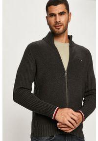Szary sweter rozpinany TOMMY HILFIGER z aplikacjami