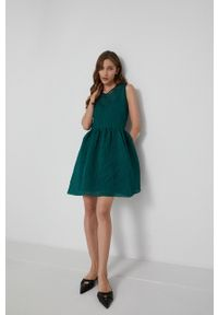 Victoria Victoria Beckham - Sukienka. Kolor: zielony. Materiał: tkanina. Typ sukienki: rozkloszowane