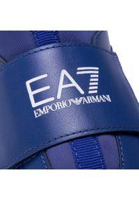 Niebieskie półbuty EA7 Emporio Armani z cholewką, na rzepy, na spacer