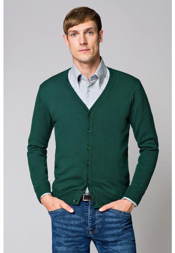 Zielony sweter Lancerto na jesień, z włoskim kołnierzykiem, w kolorowe wzory, vintage