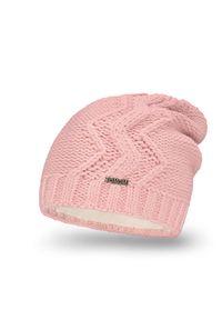 Różowa czapka zimowa PaMaMi w prążki