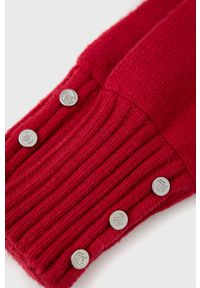 Lauren Ralph Lauren - Rękawiczki. Kolor: czerwony. Materiał: dzianina