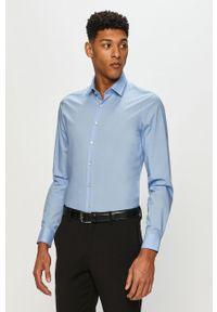 Niebieska koszula Calvin Klein z klasycznym kołnierzykiem, elegancka, długa, z długim rękawem