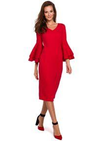 MAKEOVER - Wizytowo-Koktajlowa Sukienka w Czerwonym Kolorze. Kolor: czerwony. Materiał: poliester, elastan. Styl: wizytowy