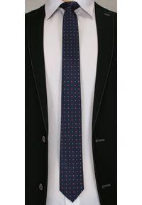 Krawat Męski w Kolorowe Groszki - 6 cm - Angelo di Monti, Ciemny Granatowy. Kolor: niebieski, wielokolorowy. Wzór: grochy