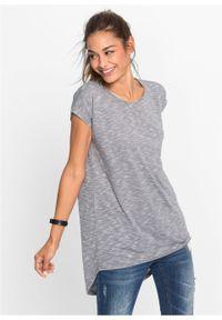 Długi shirt bonprix szaro-kolorowy. Kolor: szary. Długość rękawa: krótki rękaw. Długość: długie. Wzór: kolorowy