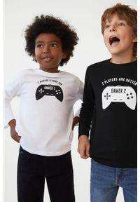 Czarna koszulka z długim rękawem Mango Kids z okrągłym kołnierzem, z nadrukiem, casualowa, na co dzień