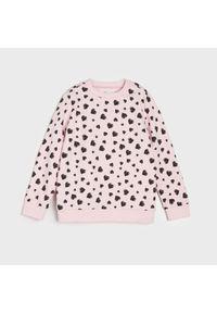 Różowa bluza Sinsay w kropki