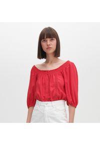 Turkusowa bluzka Reserved z dekoltem typu hiszpanka