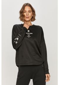 Czarna bluza G-Star RAW z długim rękawem, z nadrukiem, bez kaptura