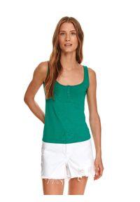 TOP SECRET - Dopasowany top. Kolor: zielony. Materiał: tkanina. Długość rękawa: na ramiączkach. Sezon: lato. Styl: wakacyjny