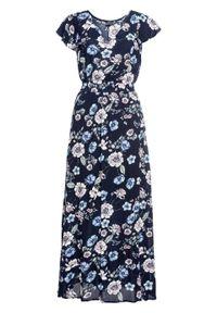 Niebieska sukienka bonprix z nadrukiem, maxi
