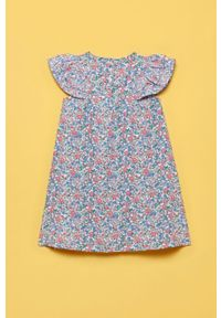 Niebieska sukienka OVS rozkloszowana, w kwiaty, mini